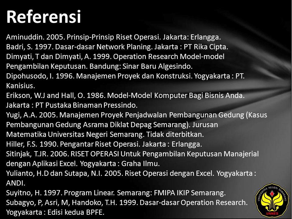 Referensi Aminuddin. 2005. Prinsip-Prinsip Riset Operasi.