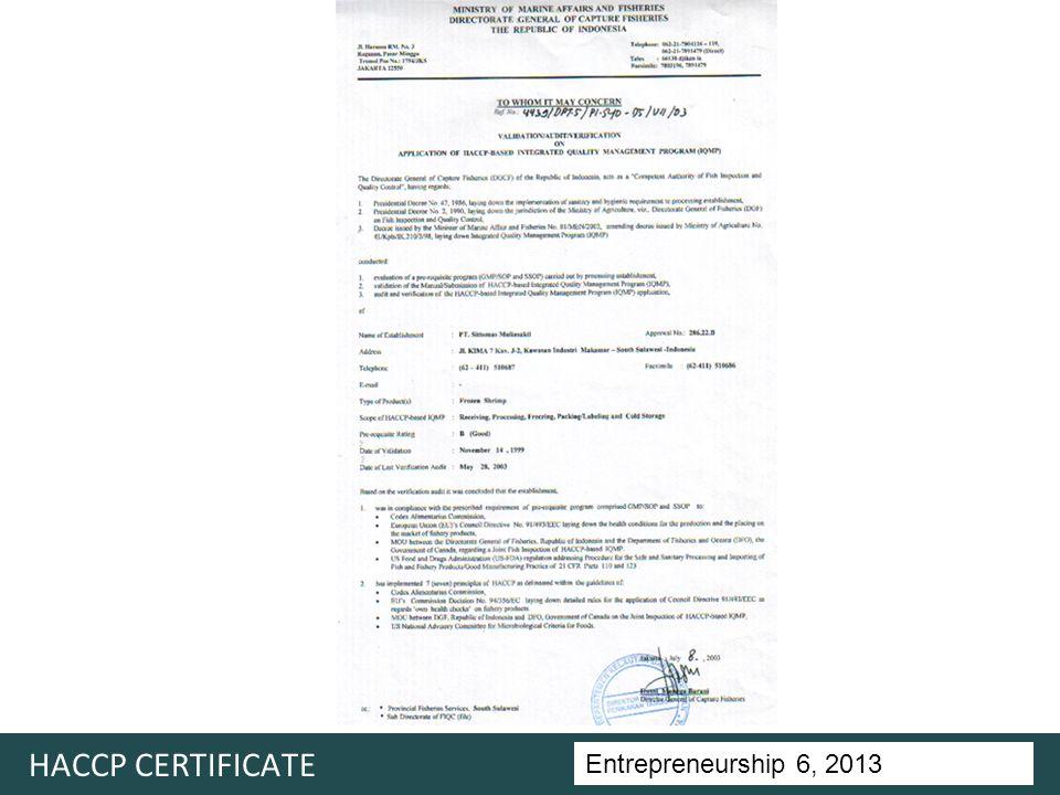 Entrepreneurship 5, Universitas Ciputra, 2011 HACCP CERTIFICATE Entrepreneurship 6, 2013