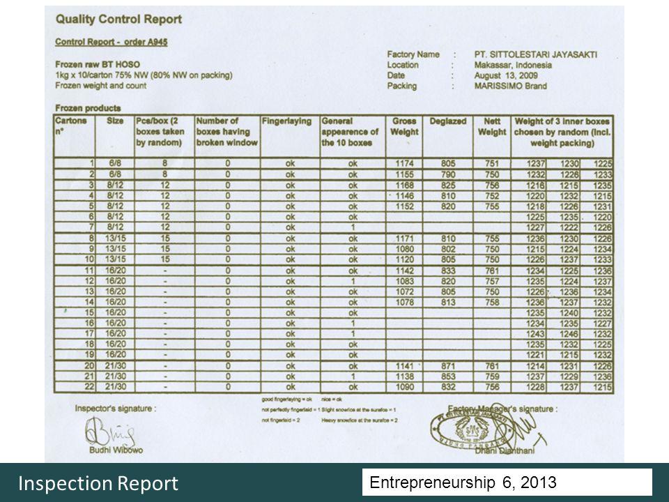 Entrepreneurship 5, Universitas Ciputra, 2011 Inspection Report Entrepreneurship 6, 2013