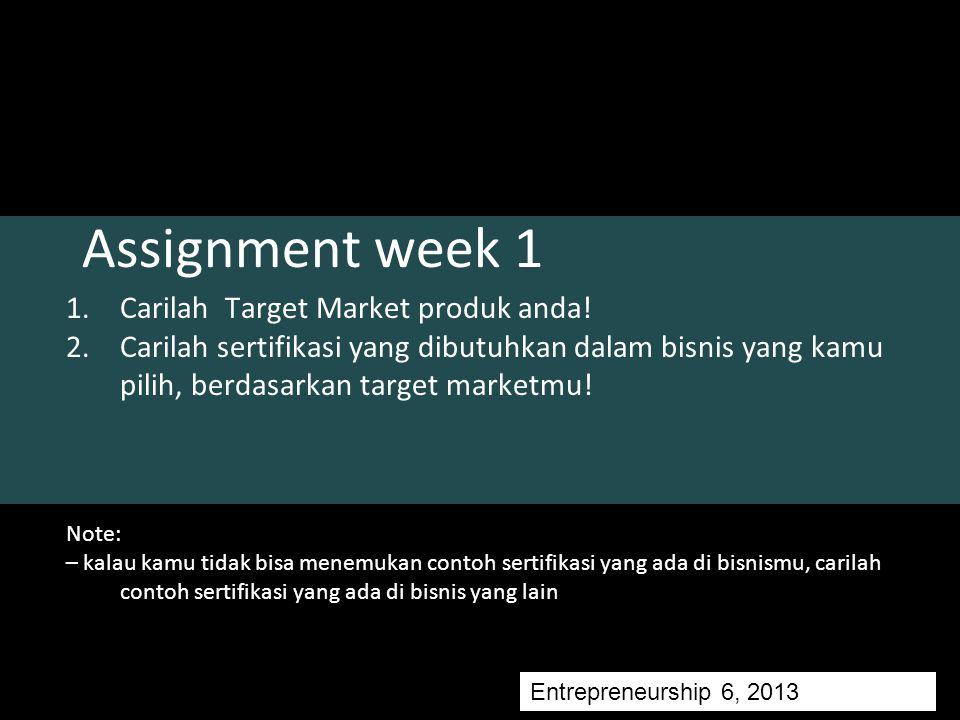 Assignment week 1 1.Carilah Target Market produk anda.