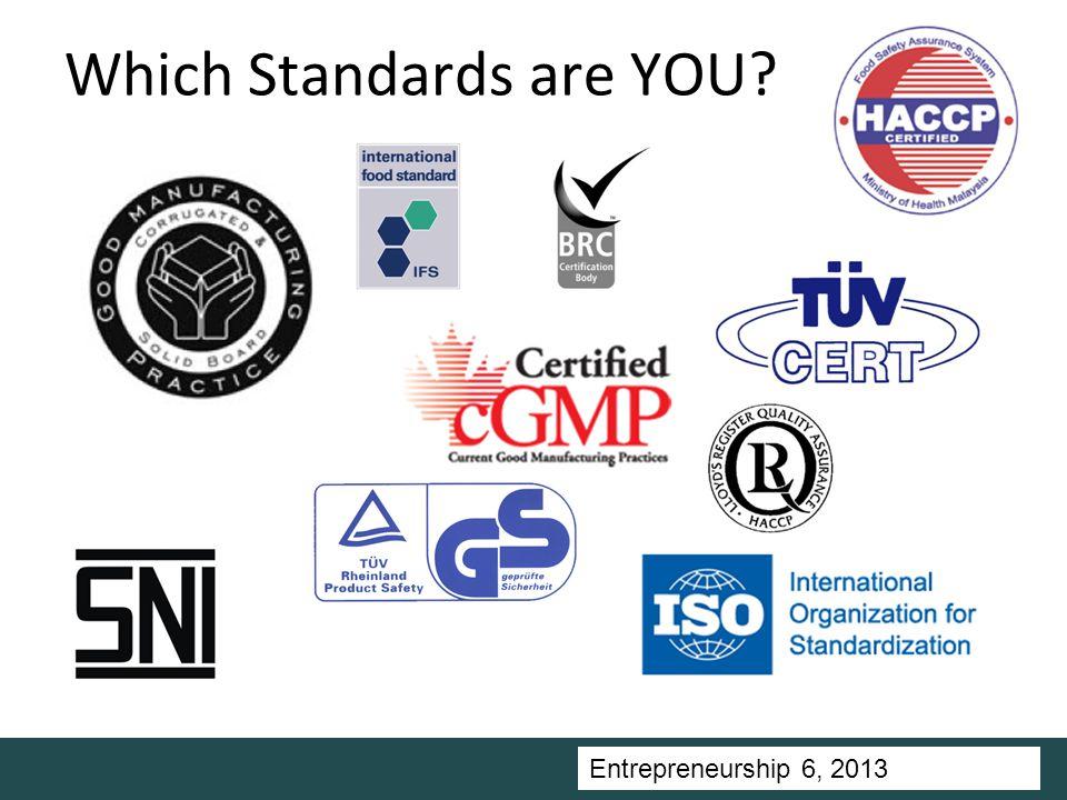 Entrepreneurship 5, Universitas Ciputra, 2011 Which Standards are YOU Entrepreneurship 6, 2013