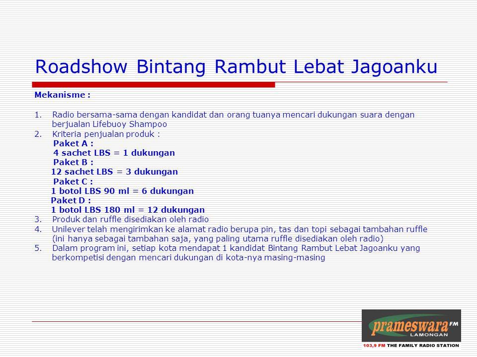 Logo Radio Roadshow Bintang Rambut Lebat Jagoanku Mekanisme : 1.Radio bersama-sama dengan kandidat dan orang tuanya mencari dukungan suara dengan berj