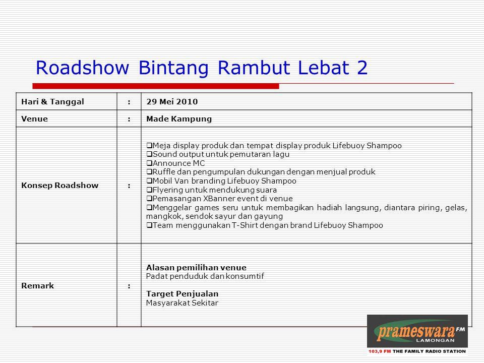 Logo Radio Roadshow Bintang Rambut Lebat 2 Hari & Tanggal:29 Mei 2010 Venue:Made Kampung Konsep Roadshow:  Meja display produk dan tempat display pro