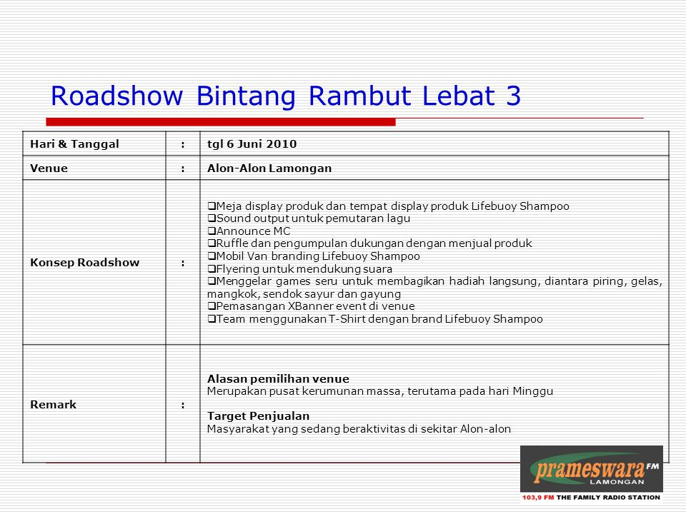 Logo Radio Roadshow Bintang Rambut Lebat 3 Hari & Tanggal:tgl 6 Juni 2010 Venue:Alon-Alon Lamongan Konsep Roadshow:  Meja display produk dan tempat d
