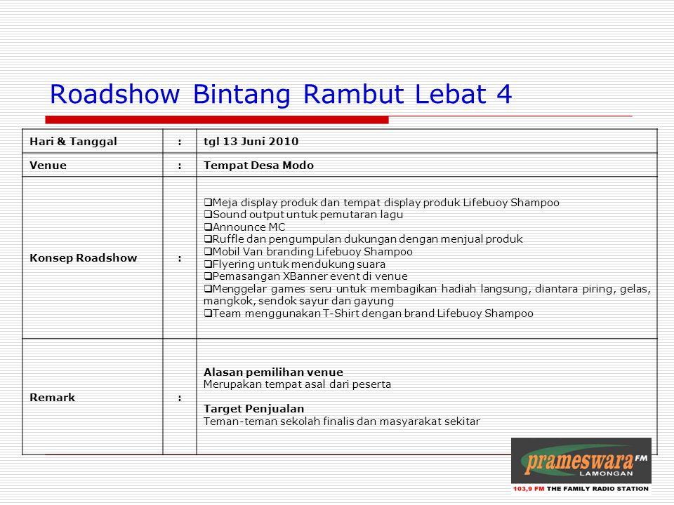 Logo Radio Roadshow Bintang Rambut Lebat 4 Hari & Tanggal:tgl 13 Juni 2010 Venue:Tempat Desa Modo Konsep Roadshow:  Meja display produk dan tempat di