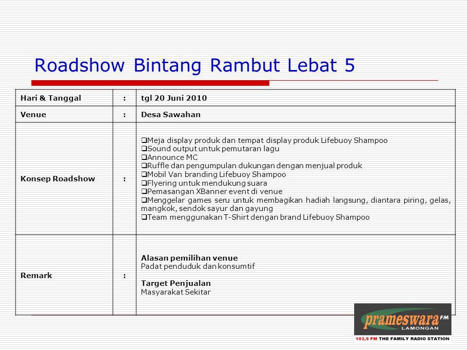 Logo Radio Roadshow Bintang Rambut Lebat 5 Hari & Tanggal:tgl 20 Juni 2010 Venue:Desa Sawahan Konsep Roadshow:  Meja display produk dan tempat displa