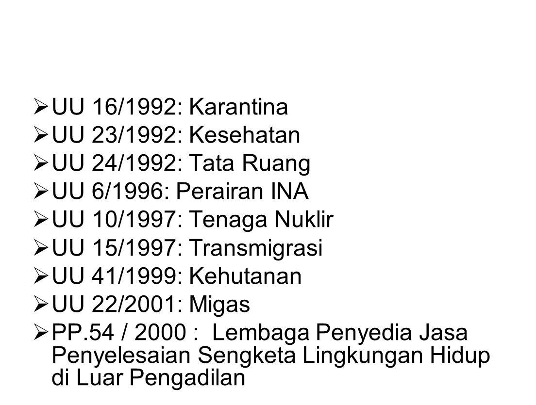  UU 16/1992: Karantina  UU 23/1992: Kesehatan  UU 24/1992: Tata Ruang  UU 6/1996: Perairan INA  UU 10/1997: Tenaga Nuklir  UU 15/1997: Transmigr
