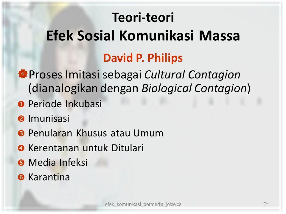 Teori-teori Efek Sosial Komunikasi Massa David P. Philips  Proses Imitasi sebagai Cultural Contagion (dianalogikan dengan Biological Contagion)  Per