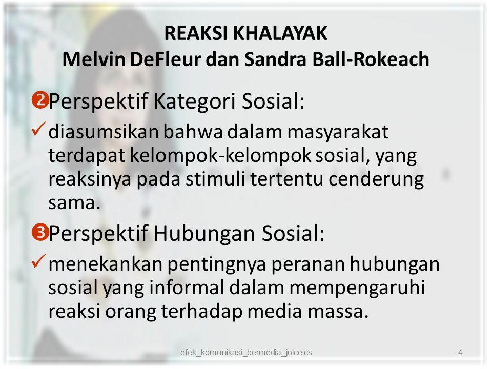 REAKSI KHALAYAK Melvin DeFleur dan Sandra Ball-Rokeach  Perspektif Kategori Sosial: diasumsikan bahwa dalam masyarakat terdapat kelompok-kelompok sos