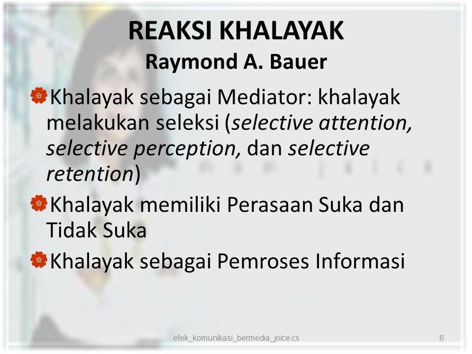 REAKSI KHALAYAK Raymond A. Bauer  Khalayak sebagai Mediator: khalayak melakukan seleksi (selective attention, selective perception, dan selective ret