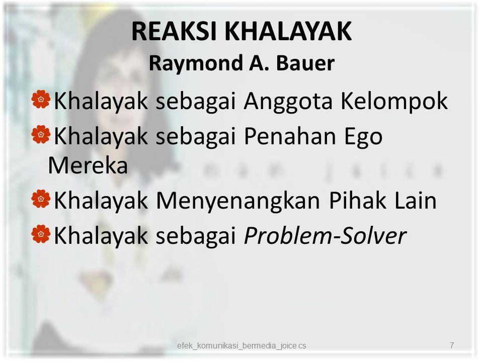 REAKSI KHALAYAK Raymond A. Bauer  Khalayak sebagai Anggota Kelompok  Khalayak sebagai Penahan Ego Mereka  Khalayak Menyenangkan Pihak Lain  Khalay