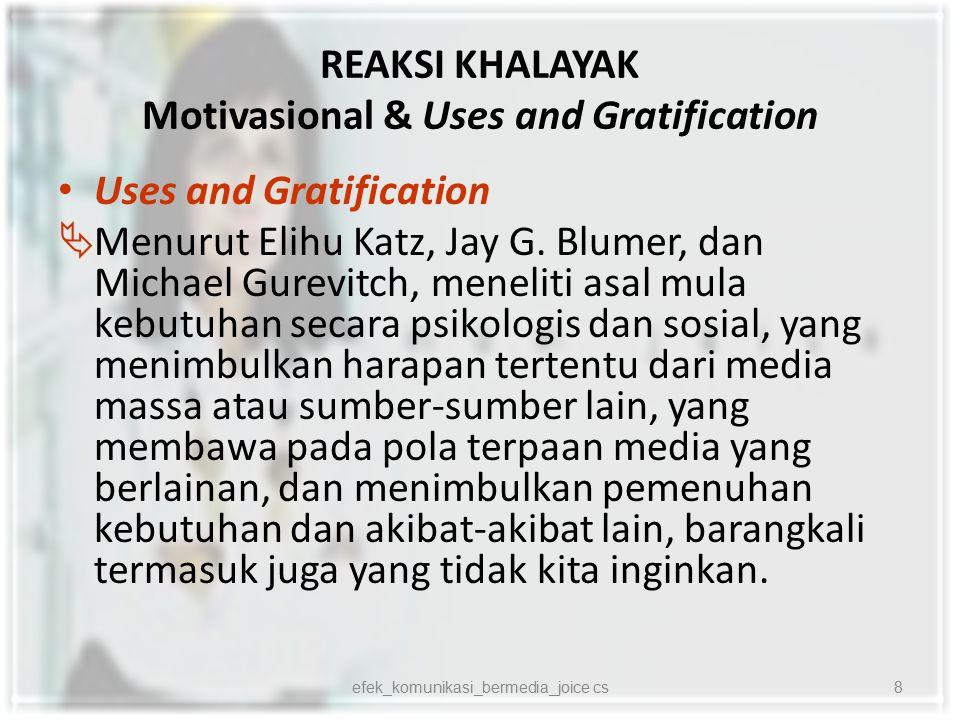 REAKSI KHALAYAK Motivasional & Uses and Gratification Pendekatan Motivasional  Kerangka psikologis yang mendasari motif serta pemuasan kebutuhan melalui komunikasi massa.