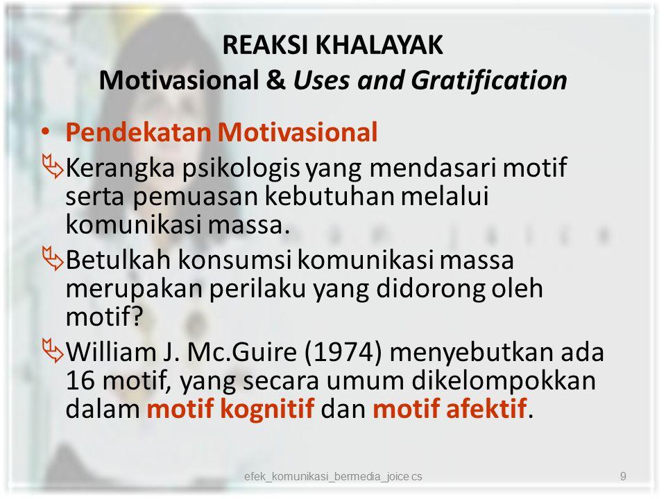 REAKSI KHALAYAK Motivasional & Uses and Gratification Pendekatan Motivasional  Setiap kategori ada dua fokus perhatian:  pertumbuhan diri dan pemeliharaan diri  perkembangan dan stabilitas  Dilihat dari inisiatif perilaku terdapat dimensi pasif dan aktif  Dilihat dari orientasi tujuan terdapat dimensi internal dan eksternal.