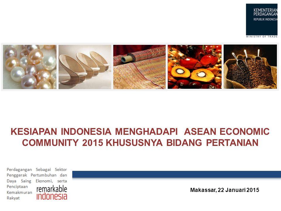 KESIAPAN INDONESIA MENGHADAPI ASEAN ECONOMIC COMMUNITY 2015 KHUSUSNYA BIDANG PERTANIAN Makassar, 22 Januari 2015