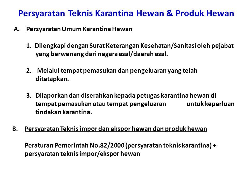 Persyaratan Teknis Karantina Hewan & Produk Hewan A.Persyaratan Umum Karantina Hewan 1.