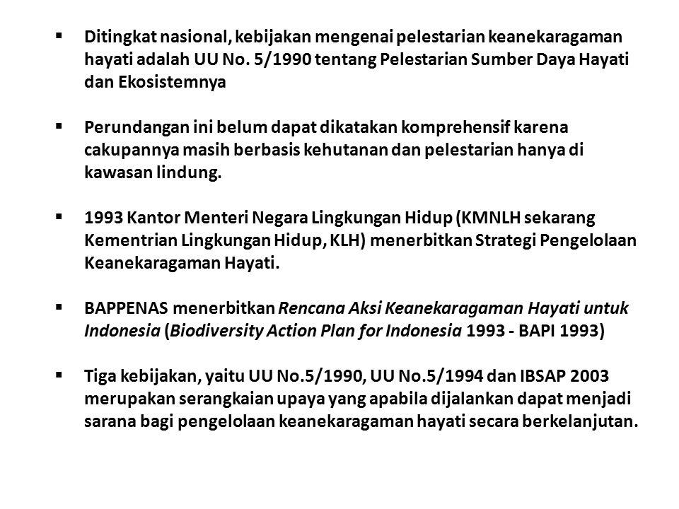  Ditingkat nasional, kebijakan mengenai pelestarian keanekaragaman hayati adalah UU No.