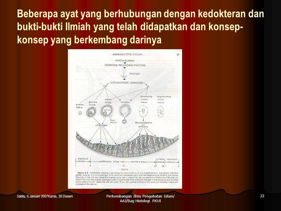 Perkembangan Ilmu Pengobatan Islam/ AAJ/Bag Histologi FKUI 22 Sabtu, 6 Januari 2007Kamis, 28 Desem Beberapa ayat yang berhubungan dengan kedokteran da