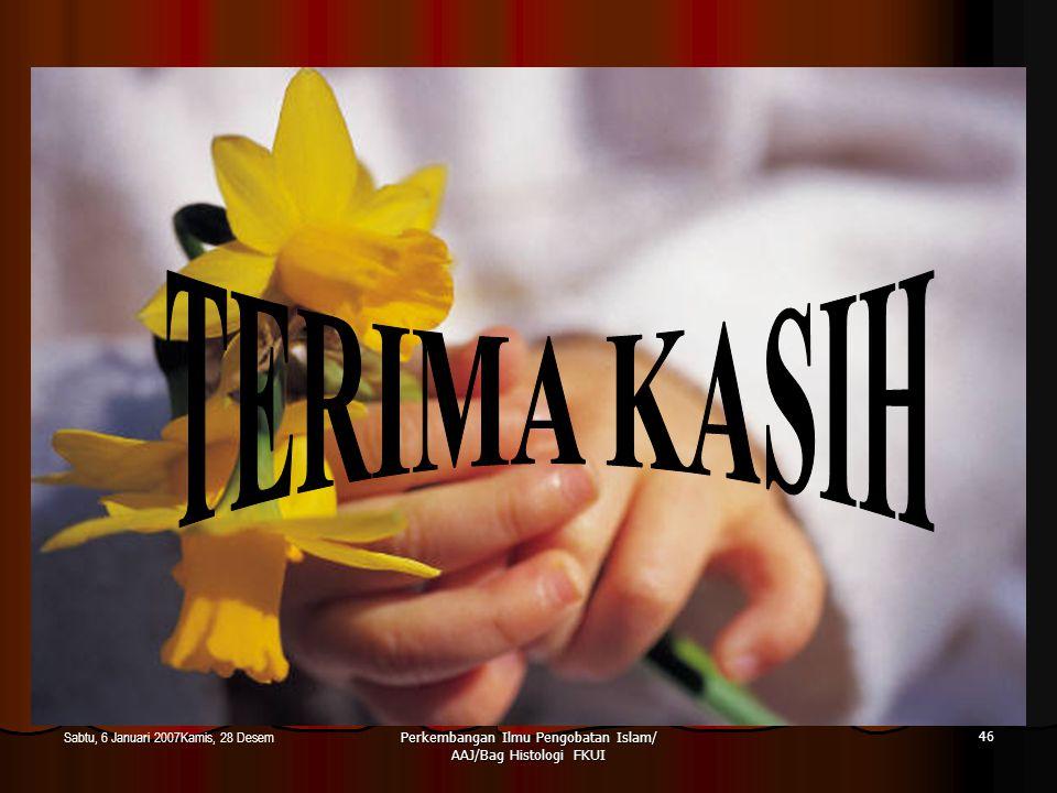 Perkembangan Ilmu Pengobatan Islam/ AAJ/Bag Histologi FKUI 46 Sabtu, 6 Januari 2007Kamis, 28 Desem