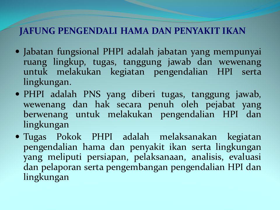 Jabatan fungsional PHPI adalah jabatan yang mempunyai ruang lingkup, tugas, tanggung jawab dan wewenang untuk melakukan kegiatan pengendalian HPI sert