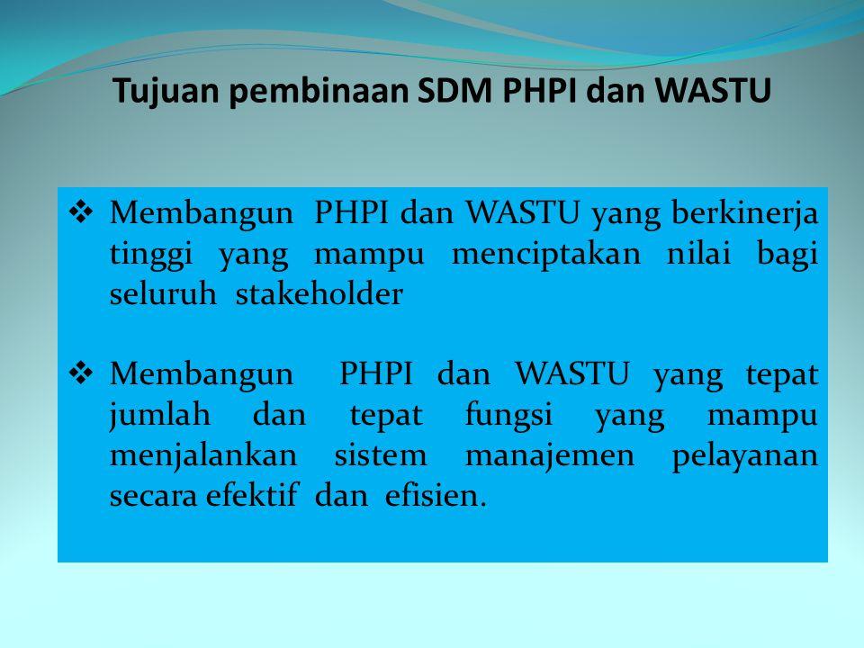 Tujuan pembinaan SDM PHPI dan WASTU  Membangun PHPI dan WASTU yang berkinerja tinggi yang mampu menciptakan nilai bagi seluruh stakeholder  Membangu