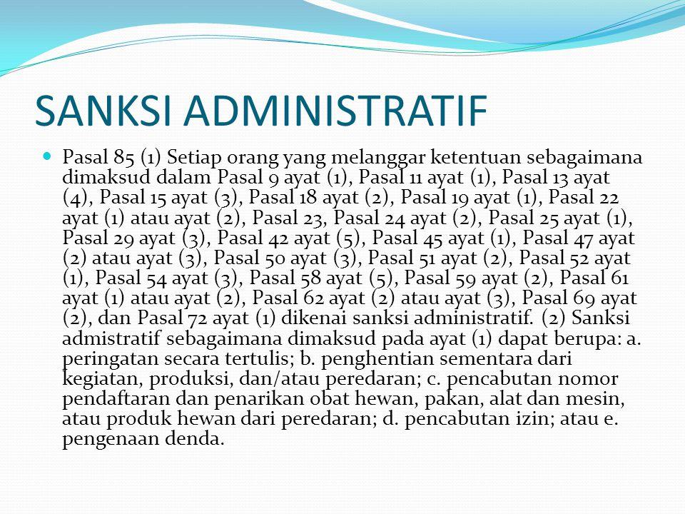 SANKSI ADMINISTRATIF Pasal 85 (1) Setiap orang yang melanggar ketentuan sebagaimana dimaksud dalam Pasal 9 ayat (1), Pasal 11 ayat (1), Pasal 13 ayat