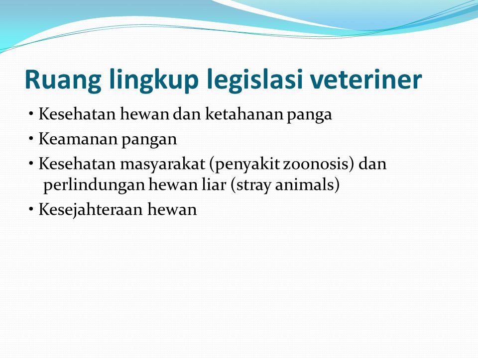 Ruang lingkup legislasi veteriner Kesehatan hewan dan ketahanan panga Keamanan pangan Kesehatan masyarakat (penyakit zoonosis) dan perlindungan hewan