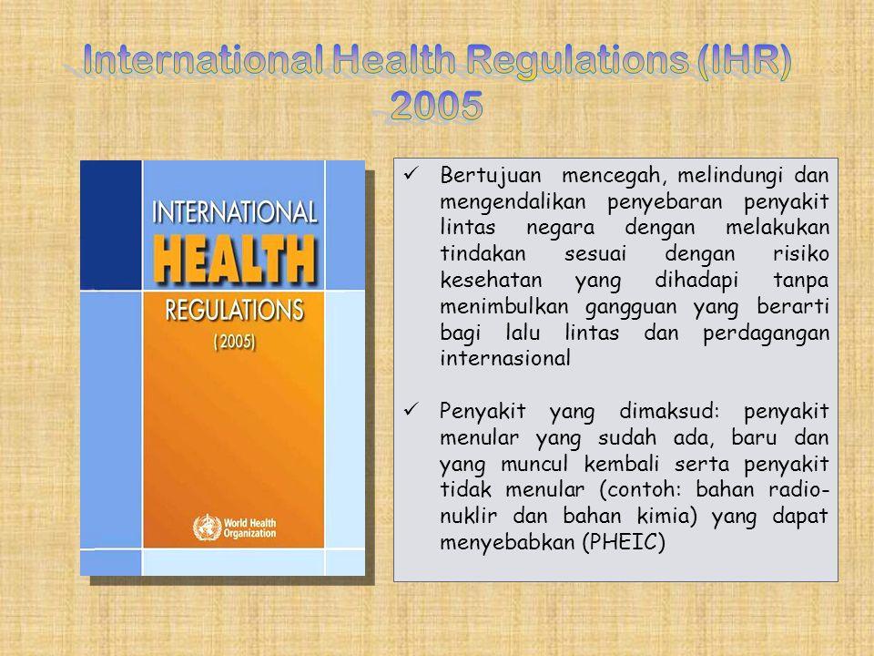 Bertujuan mencegah, melindungi dan mengendalikan penyebaran penyakit lintas negara dengan melakukan tindakan sesuai dengan risiko kesehatan yang dihad