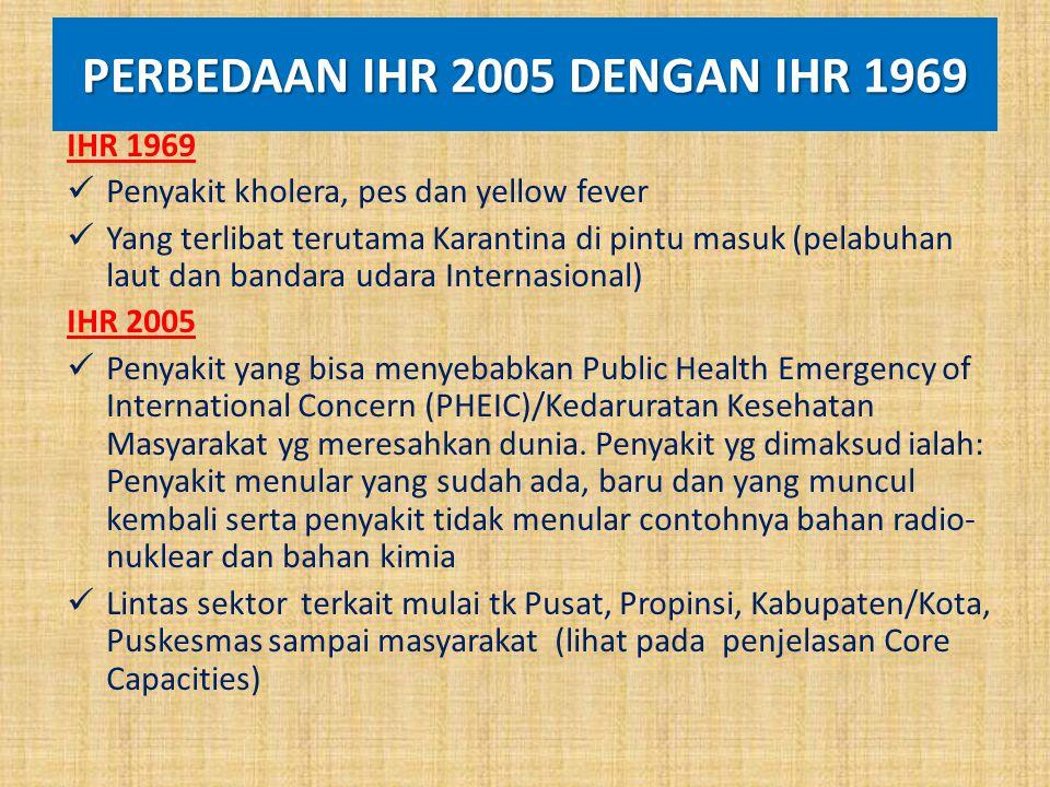 PERBEDAAN IHR 2005 DENGAN IHR 1969 IHR 1969 Penyakit kholera, pes dan yellow fever Yang terlibat terutama Karantina di pintu masuk (pelabuhan laut dan