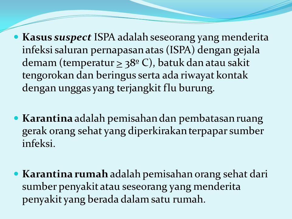 Kasus suspect ISPA adalah seseorang yang menderita infeksi saluran pernapasan atas (ISPA) dengan gejala demam (temperatur > 38º C), batuk dan atau sak