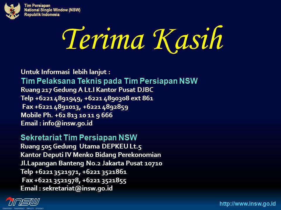 Tim Persiapan National Single Window (NSW) Republik Indonesia http://www.insw.go.id Terima Kasih Untuk Informasi lebih lanjut : Tim Pelaksana Teknis p