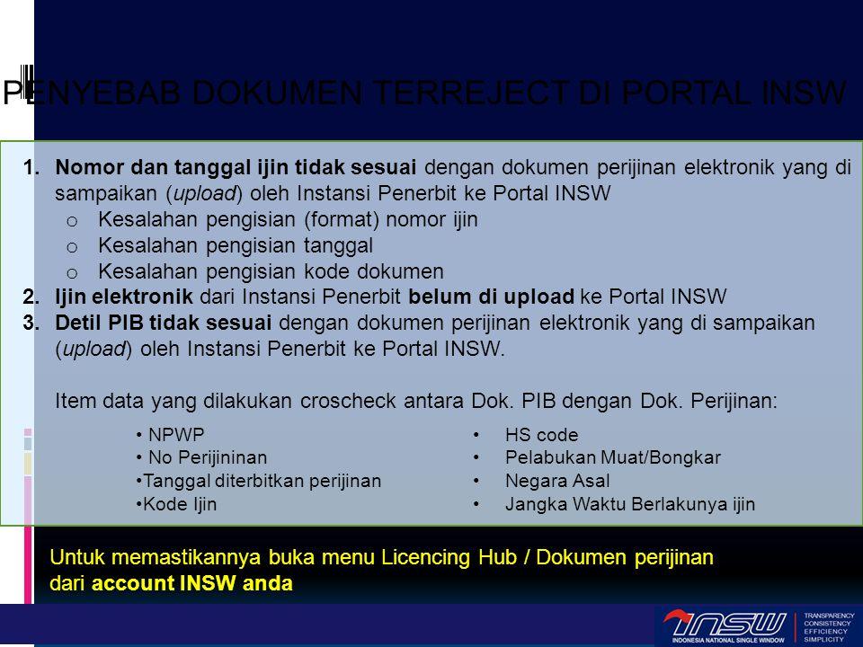 1.Nomor dan tanggal ijin tidak sesuai dengan dokumen perijinan elektronik yang di sampaikan (upload) oleh Instansi Penerbit ke Portal INSW o Kesalahan