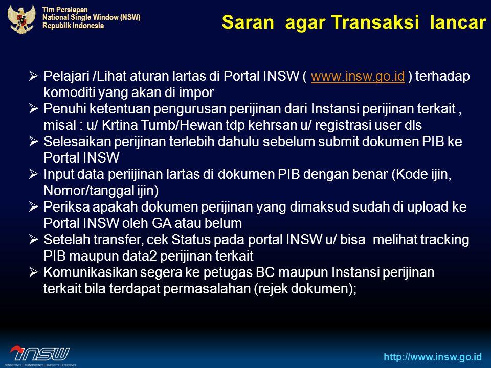 Tim Persiapan National Single Window (NSW) Republik Indonesia http://www.insw.go.id Saran agar Transaksi lancar  Pelajari /Lihat aturan lartas di Por