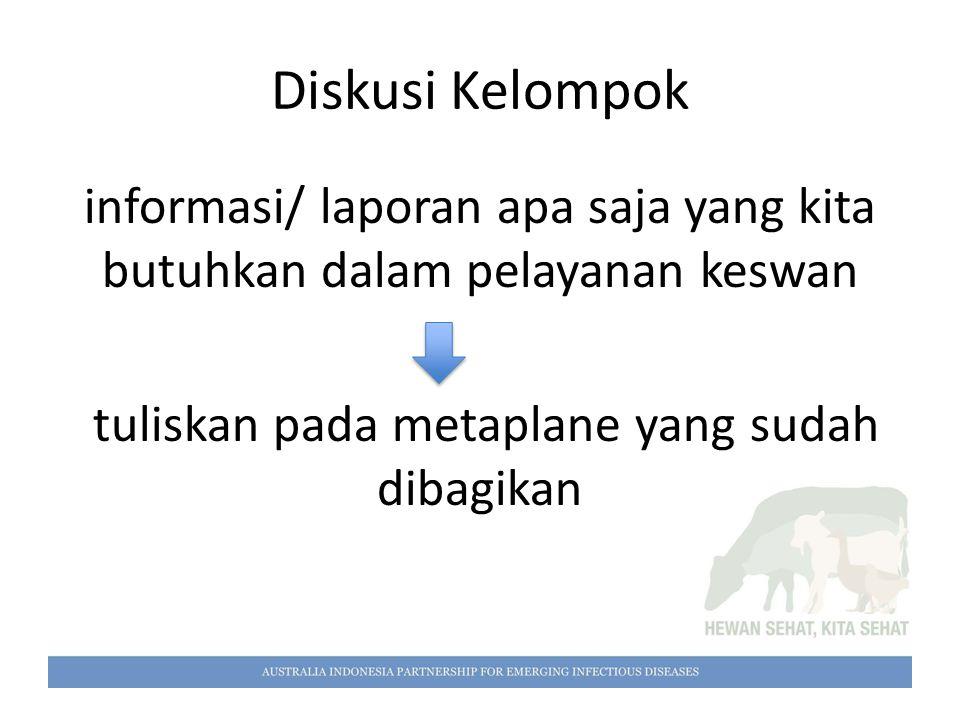informasi/ laporan apa saja yang kita butuhkan dalam pelayanan keswan tuliskan pada metaplane yang sudah dibagikan Diskusi Kelompok