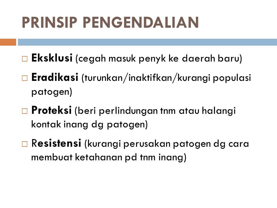 PRINSIP PENGENDALIAN  Eksklusi (cegah masuk penyk ke daerah baru)  Eradikasi (turunkan/inaktifkan/kurangi populasi patogen)  Proteksi (beri perlind