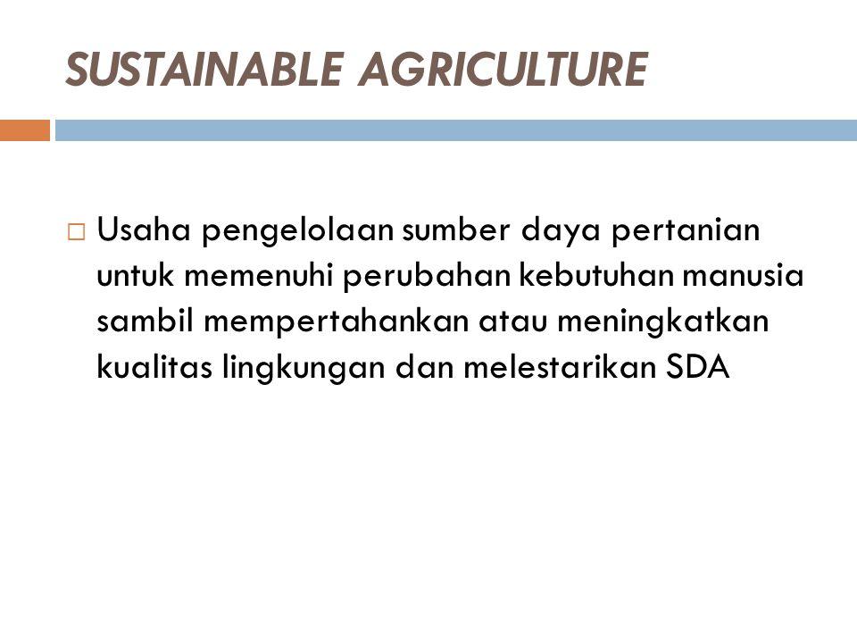 SUSTAINABLE AGRICULTURE  Usaha pengelolaan sumber daya pertanian untuk memenuhi perubahan kebutuhan manusia sambil mempertahankan atau meningkatkan k