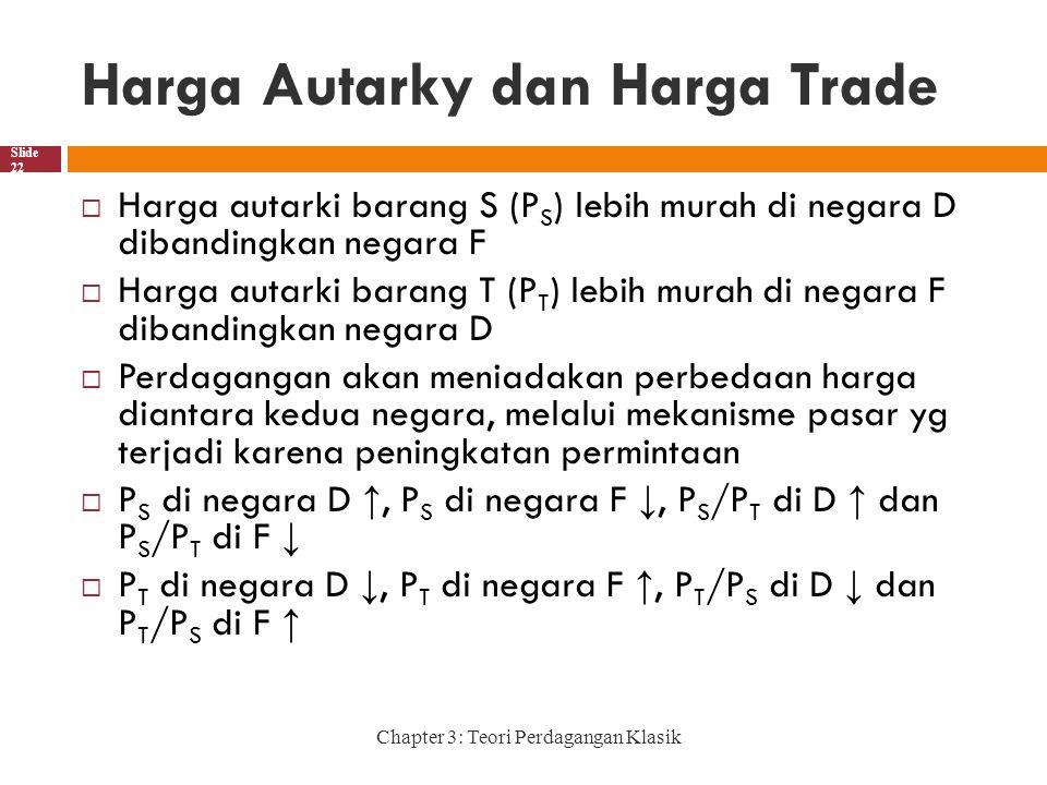 Harga Autarky dan Harga Trade Chapter 3: Teori Perdagangan Klasik Slide 22  Harga autarki barang S (P S ) lebih murah di negara D dibandingkan negara F  Harga autarki barang T (P T ) lebih murah di negara F dibandingkan negara D  Perdagangan akan meniadakan perbedaan harga diantara kedua negara, melalui mekanisme pasar yg terjadi karena peningkatan permintaan  P S di negara D ↑, P S di negara F ↓, P S /P T di D ↑ dan P S /P T di F ↓  P T di negara D ↓, P T di negara F ↑, P T /P S di D ↓ dan P T /P S di F ↑