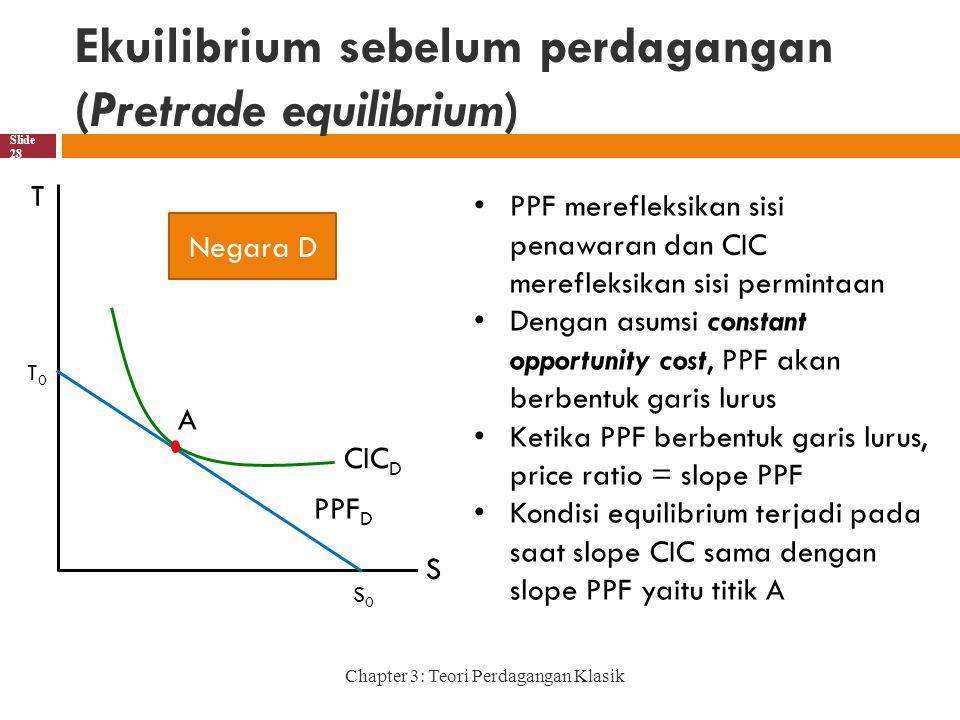 Ekuilibrium sebelum perdagangan (Pretrade equilibrium) Chapter 3: Teori Perdagangan Klasik Slide 28 PPF merefleksikan sisi penawaran dan CIC merefleksikan sisi permintaan Dengan asumsi constant opportunity cost, PPF akan berbentuk garis lurus Ketika PPF berbentuk garis lurus, price ratio = slope PPF Kondisi equilibrium terjadi pada saat slope CIC sama dengan slope PPF yaitu titik A T S T0T0 S0S0 Negara D CIC D PPF D A