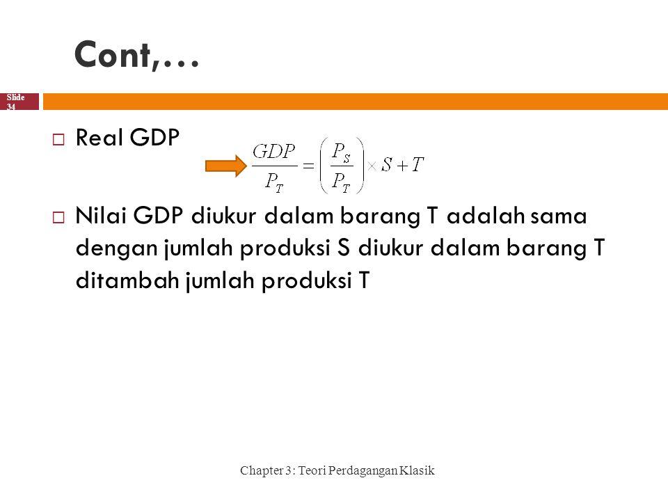 Cont,… Chapter 3: Teori Perdagangan Klasik Slide 34  Real GDP  Nilai GDP diukur dalam barang T adalah sama dengan jumlah produksi S diukur dalam barang T ditambah jumlah produksi T