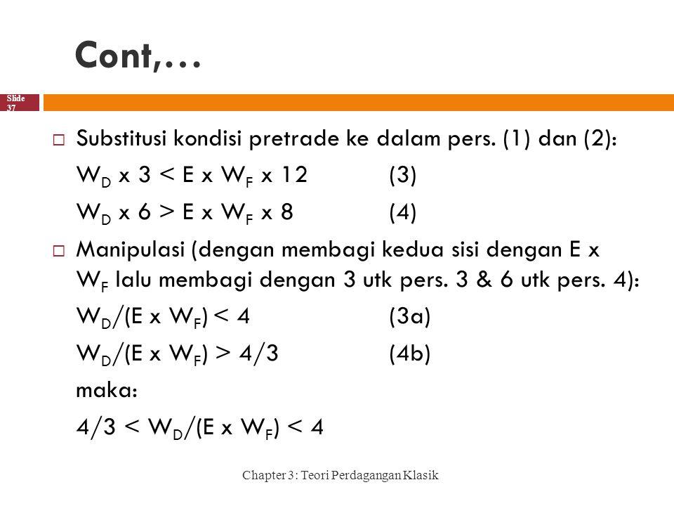 Cont,… Chapter 3: Teori Perdagangan Klasik Slide 37  Substitusi kondisi pretrade ke dalam pers.