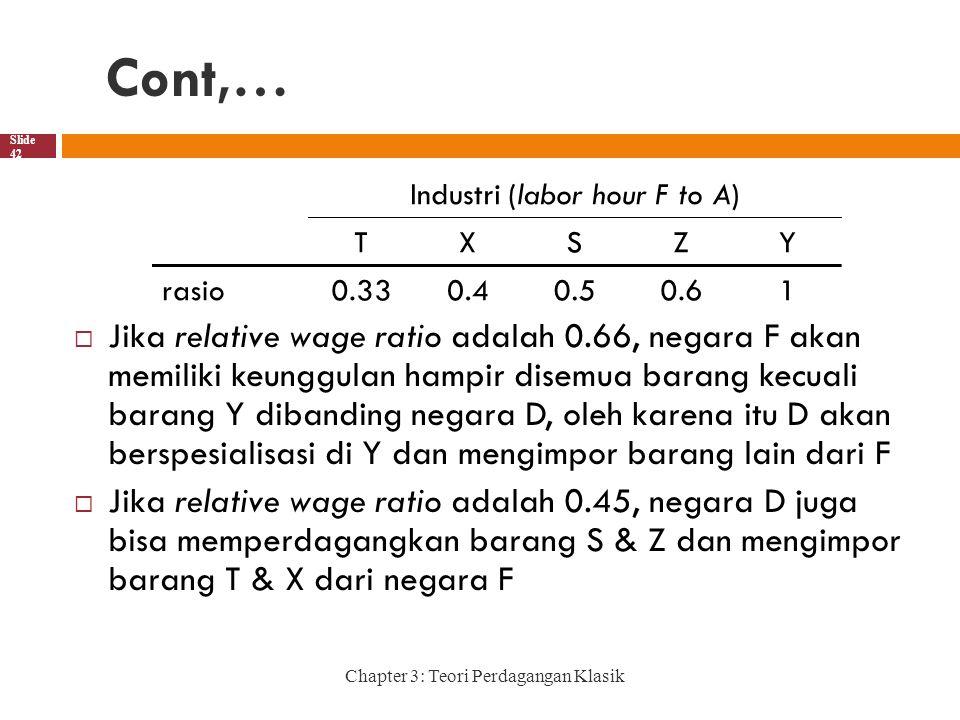 Cont,… Chapter 3: Teori Perdagangan Klasik Slide 42  Jika relative wage ratio adalah 0.66, negara F akan memiliki keunggulan hampir disemua barang kecuali barang Y dibanding negara D, oleh karena itu D akan berspesialisasi di Y dan mengimpor barang lain dari F  Jika relative wage ratio adalah 0.45, negara D juga bisa memperdagangkan barang S & Z dan mengimpor barang T & X dari negara F Industri (labor hour F to A) TXSZY rasio0.330.40.50.61