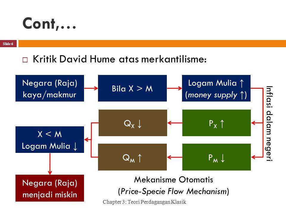Cont,… Chapter 3: Teori Perdagangan Klasik Slide 6  Kritik David Hume atas merkantilisme: Negara (Raja) kaya/makmur Bila X > M Logam Mulia ↑ (money supply ↑ ) PX ↑PX ↑ PM ↓PM ↓ Inflasi dalam negeri QM ↑QM ↑ QX ↓QX ↓ X < M Logam Mulia ↓ Negara (Raja) menjadi miskin Mekanisme Otomatis (Price-Specie Flow Mechanism)