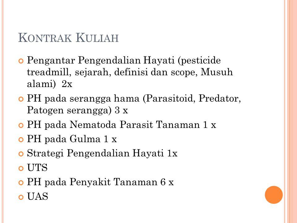 K ONTRAK K ULIAH Pengantar Pengendalian Hayati (pesticide treadmill, sejarah, definisi dan scope, Musuh alami) 2x PH pada serangga hama (Parasitoid, P
