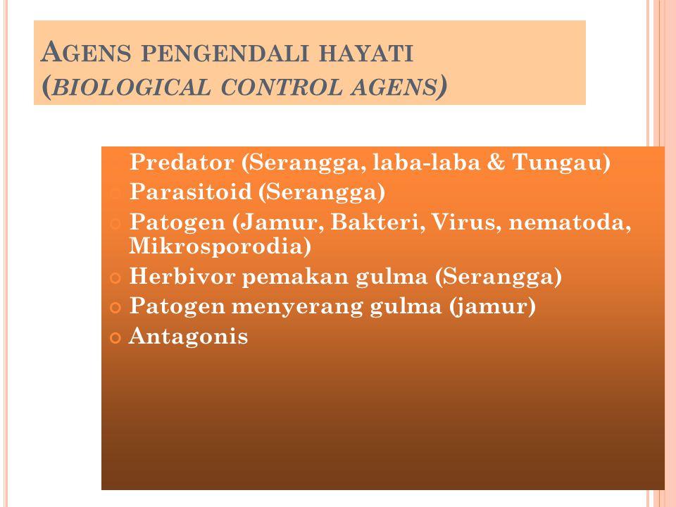 A GENS PENGENDALI HAYATI ( BIOLOGICAL CONTROL AGENS ) Predator (Serangga, laba-laba & Tungau) Parasitoid (Serangga) Patogen (Jamur, Bakteri, Virus, ne