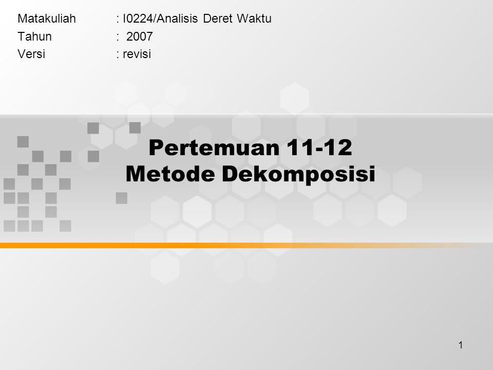 1 Pertemuan 11-12 Metode Dekomposisi Matakuliah: I0224/Analisis Deret Waktu Tahun: 2007 Versi: revisi