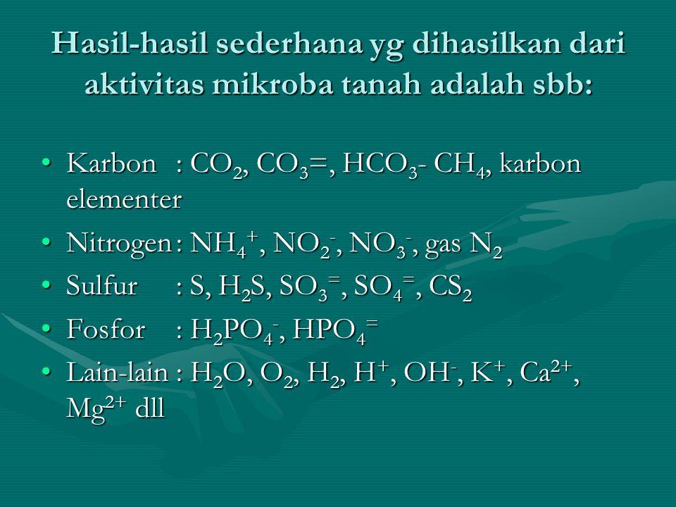 Hasil-hasil sederhana yg dihasilkan dari aktivitas mikroba tanah adalah sbb: Karbon: CO 2, CO 3 =, HCO 3 - CH 4, karbon elementerKarbon: CO 2, CO 3 =,
