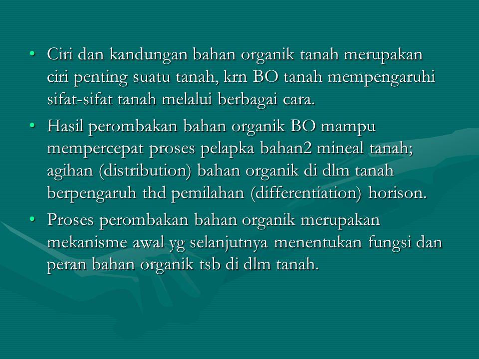 Ciri dan kandungan bahan organik tanah merupakan ciri penting suatu tanah, krn BO tanah mempengaruhi sifat-sifat tanah melalui berbagai cara.Ciri dan