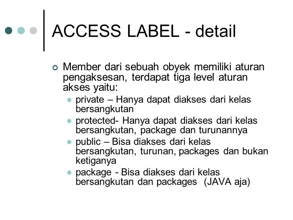 ACCESS LABEL - detail Member dari sebuah obyek memiliki aturan pengaksesan, terdapat tiga level aturan akses yaitu: private – Hanya dapat diakses dari