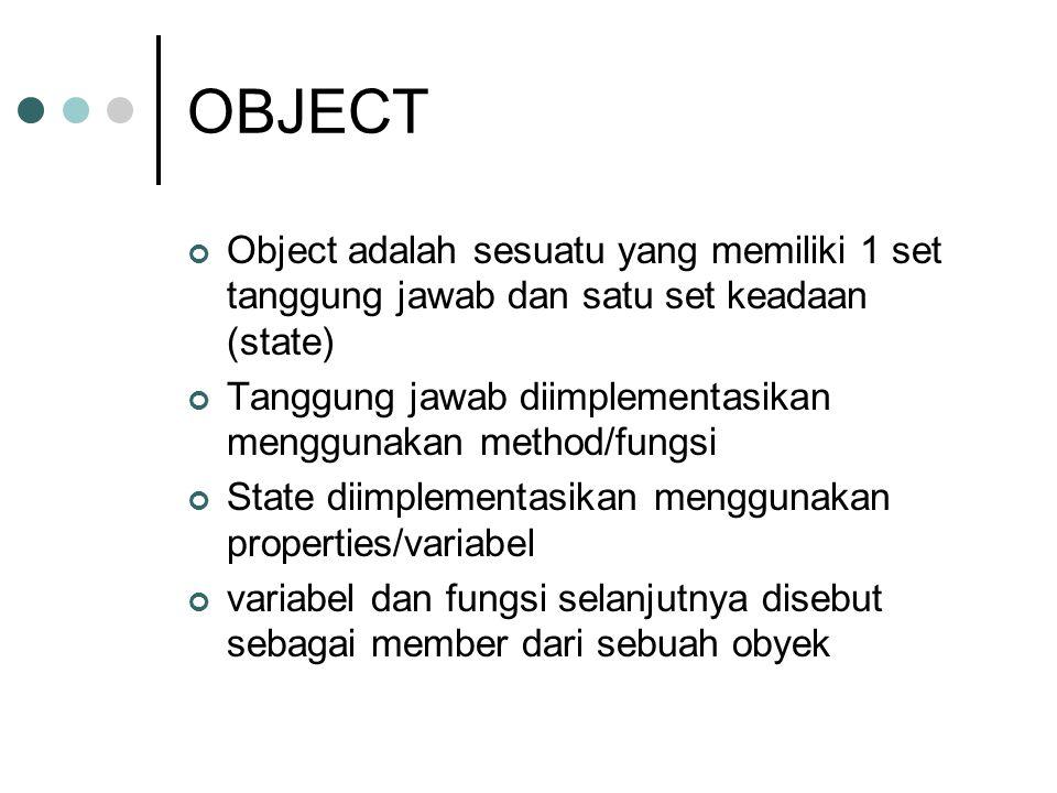 OBJECT Object adalah sesuatu yang memiliki 1 set tanggung jawab dan satu set keadaan (state) Tanggung jawab diimplementasikan menggunakan method/fungs