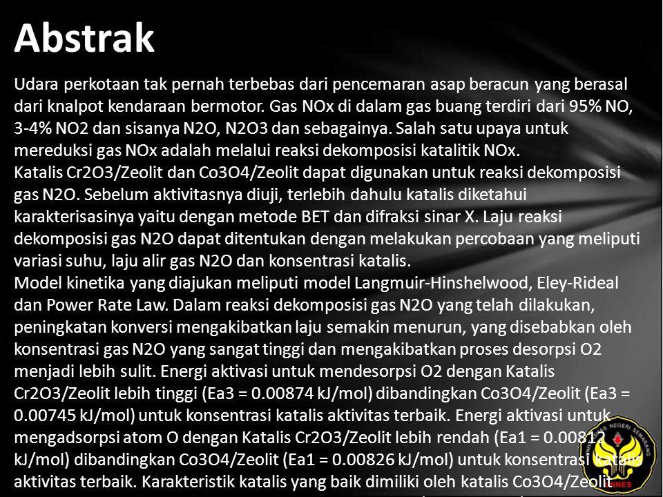 Kata Kunci Dekomposisi gas N2O, Katalis Cr2O3/Zeolit, Co3O4/Zeolit, Laju reaksi.