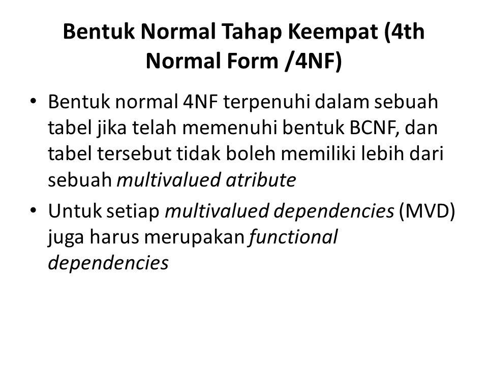 Bentuk Normal Tahap Keempat (4th Normal Form /4NF) Bentuk normal 4NF terpenuhi dalam sebuah tabel jika telah memenuhi bentuk BCNF, dan tabel tersebut